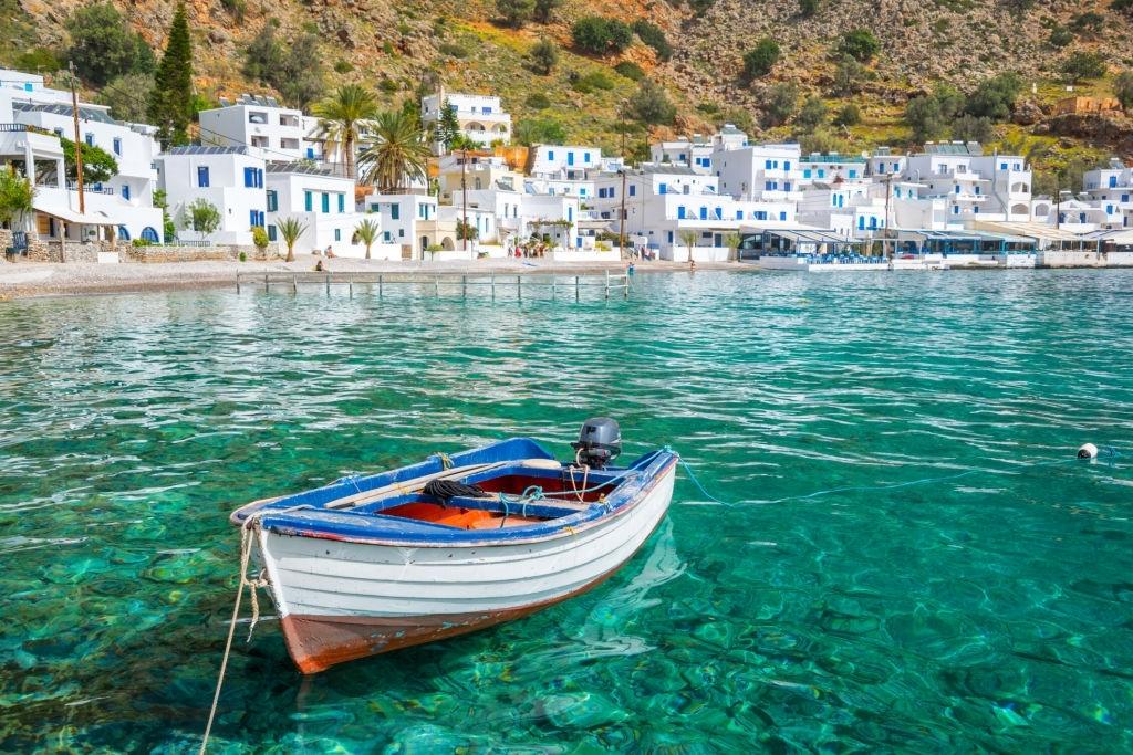 Scenic village of Loutro in Crete