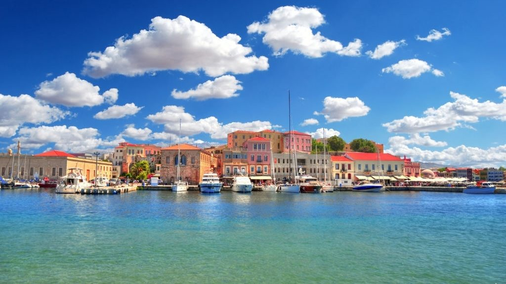beautiful old Venetian Harbour of the city of Chania