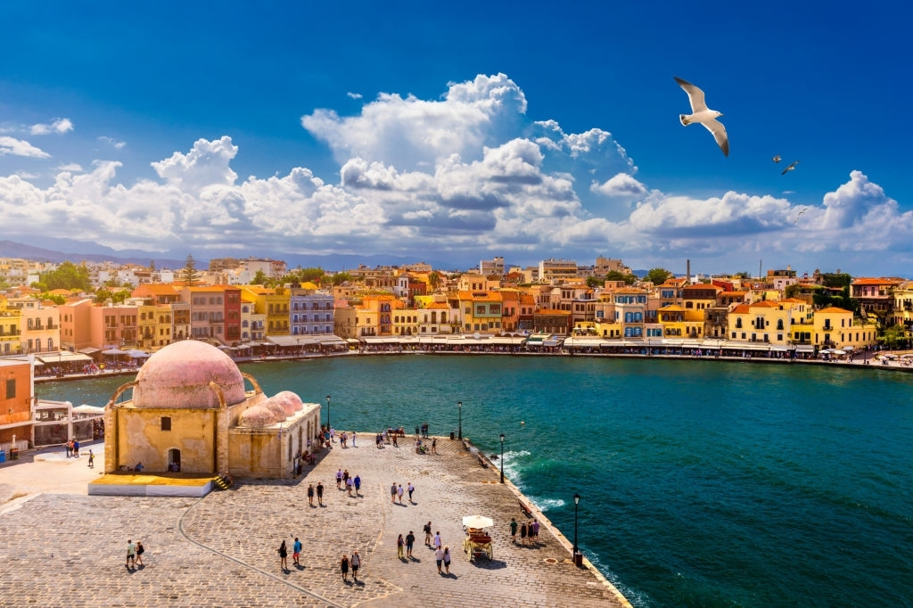 Mosque in the old Venetian harbor of Chania town