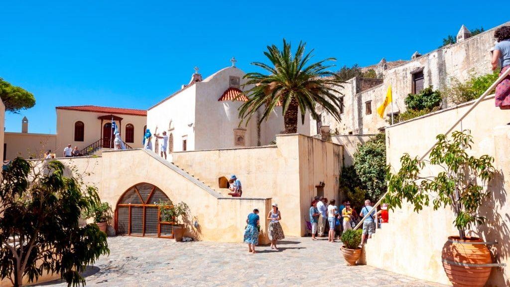 People visiting Preveli monastery in south Crete