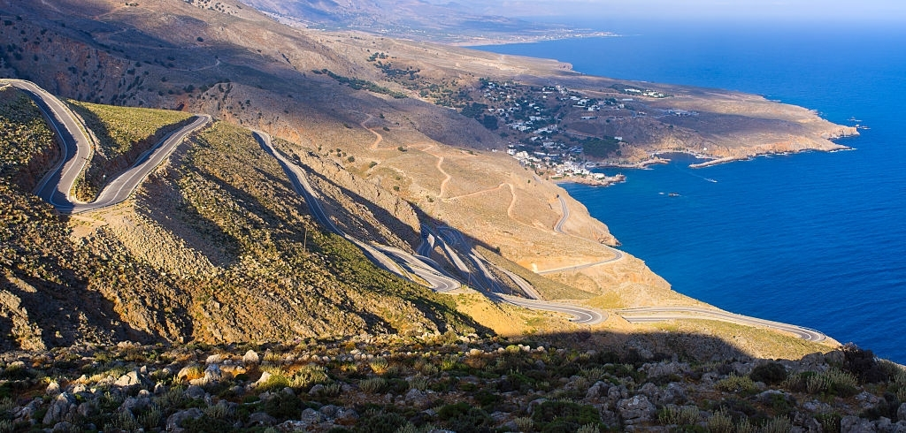 Curvy road near Chora Sfakion on Crete island