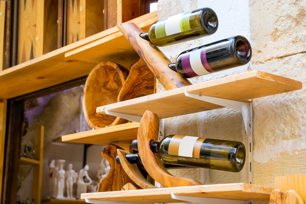 bottles of white and red Greek wine.